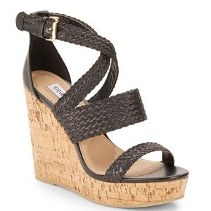 Steve Madden Black Braided Sandal Wedges Size 8